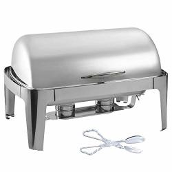 Tiger Chef Stainless Steel Chafer - Chafing Dish Buffer Set Roll-top Chaffing Dishes 8 Quart And Plastic Salad Tong