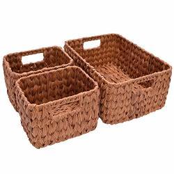 Storageworks Set Of 3 Hand Woven Resin Storage Basket Wicker Shelf Storage Tote Basket Walnut 14.6 X 10.2 X 6.3 Inches