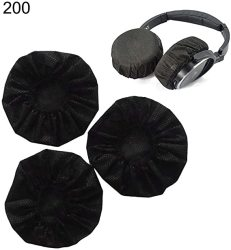 Stretchable 200PCS Headphone Cushion Covers Disposable Sanitary Headphone Covers Replacement Black 11CM