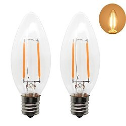 Rowrun LED Filament Candle Light Bulb E17 2WATT C35 Warm White 2700K Not-dimmable Equivalent 20W Incandescent Lamp