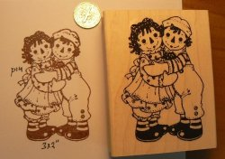Dragonflylaser Raggedy Ann And Andy Large Rubber Stamp Wm P14