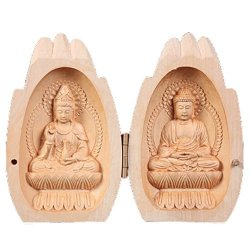 Ebissy Buddha Statue Small Hand Carved Wooden Box Home Decor MINI Buddhist Altar Portable Temple Praying Hands