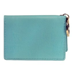 OWL Folding Id Blue Small Leather Bifold Id Card Holder Wallet With Keychain For Men + Women