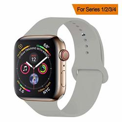 Greatou Yanch Compatible With For Apple Watch Band 42MM 44MM Soft Silicone Sport Band Replacement Wrist Strap Compatible With Fo