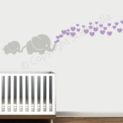 Decal The Walls Cutie Grey Elephants With Colored Bubble Hearts Vinyl Wall Decal Sticker Baby Nursery Play Room Lilac Hearts