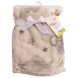 LITTLE ONE - Elephant Generic Baby Flannel Fleece Throw Grey