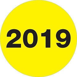 """2019"""" Year Labels stickers 2"""" Circle Fluorescent Yellow 500 Labels Per Roll 1 Roll"""