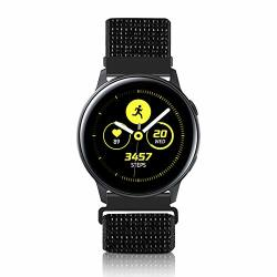 Wniph 20MM Quick Release Watch Band Compatible With Samsung Galaxy galaxy Watch ACTIVE2 Huawei pebble asus ticwatch Smart Watch Nylon Breathable Replacement Sport Strap Reflective Black 20MM