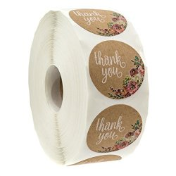 """Sblabels Brown Kraft Floral Thank You Stickers - 1.5"""" Circle Labels 1000 Per Pack"""