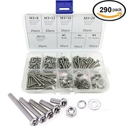 CO RODE 290PCS M3 Phillips Pan Head Screws Bolts Nuts Lock Flat Washers Assortment Kit M3 304 Stainless Steel