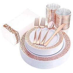 "Iooooo 160PCS Lace Dinnerware Set 20 Rose Gold Dinner Plates 10.25"" 20 Dessert Plates 7.5"" 40 Forks 20 Spoons 20 Knives 20 Plast"