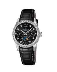 Candino Sapphire Swiss Made Ladies Leather Watch Black - Lady Casual