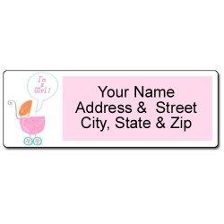 It's A Girl Address Label - Customized Baby Return Address Label - 90 Labels