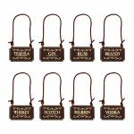 Genuine Leather Liquor Decanter Tags labels Set Of 8 - Scotch Whiskey Bourbon Gin Rum Vodka Tequila And Brandy - Adjustable Micr