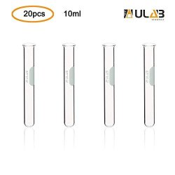 Ulab Scientific Glass Test Tube With Rim Shot Glass Cocktail Party Tubes CAP.10ML 13X100MM 3.3 Borosilicate Glass Material Pack