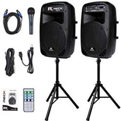 Proreck Dance 12 Portable 12-INCH 1000 Watts 2-WAY Powered Pa Speaker System Combo Set With Bluetooth usb sd Card Reader fm Radi