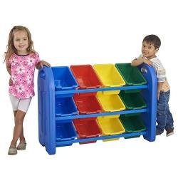ECR4KIDS 3TIER Toy Storage Organizer For Kids Blue With 12 Assorted Color Bins