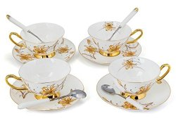 KENDAL Porcelain Tea Cup And Saucer Coffee Cup Set White Color With Saucer And Spoon 8 Oz Set Of 4 Tc-jbh