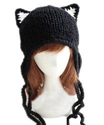 Chrysea Handmade Earflap Beanie Cat Ears Knit Hats
