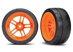 "Traxxas 8374A Assembled Orange Split-spoke Wheels With 1.9"" Response Tires Rear"