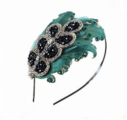 Elegent Green Peacock Feather Hair Band Accessory