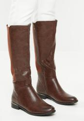 Butterfly Feet Huda 3 Faux Leather Knee Length Boot - Brown