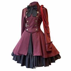 Vekdone Halloween Costume Women's Gothic Princess Cosplay Sweet Lolita Dress Plus Size Wine XL