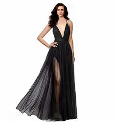 NIGHT Glamour Women's Elegant Prom Dresses Deep V-necklineback Tulle Sleeveless Long Party Prom Evening Formal Dress Black Mediu
