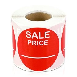 "Price 2"" Round Pricing Retail Store Stickers tags Labels Stickers Red 300 Labels Per Roll 4 Rolls"
