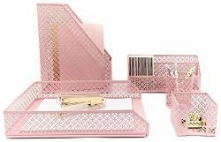 Blu Monaco Office Supplies Pink Desk Accessories For WOMEN-5 Piece Desk Organizer Set-mail Sorter Sticky Note Holder Pen Cup Magazine Holder Letter Tray-pink Room