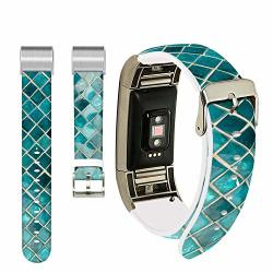 Leather Band For Fitbit Charge 3 Se Ecute Replacement Band Fitbit Charge 3 Leather Bands Strap For Fitbit Charge 3 CHARGE 3 Se -vintage Green Mosaic Band