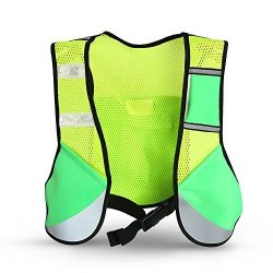Petyoung Running Vest Multi-function Night Sporting Reflective Cycling Running Vest Hiking Jacket