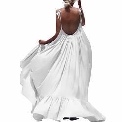 Zqishmao 2019 Women Boho Maxi Dress Sexy Backless Sleeveless Beach Party Flowy Summer Long Sun Dress Plus Size White M