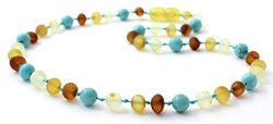BoutiqueAmber Raw Amber Teething Necklace Made With Turquoise Beads - Size 12.5 Inches 32 Cm - Unpolished Multicolor Baltic Amber Beads - 12.5 Inches Raw Multi Turquoise