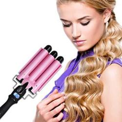 "Hair Waver Hair Curling Iron Curling Wands Hair Curler 14X4"" Tourmaline Ceramic Hair Crimper Long Hair 3 Barrel Waver Instant H"