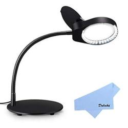 Delixike Magnifying Lamp 3X Magnifying Glass With Light And Stand For Close Work Reading Crafts Workbench - Black
