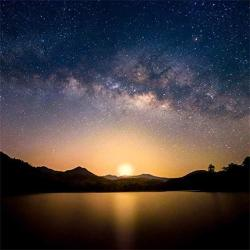 Aofoto 8X8FT Glowing Sunset Starry Sky Backdrop For Photography Natural Lakeside Night Scenery Outer Space Nebula Background Nebulous Stars Video Yout
