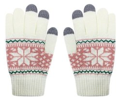 Men Women Girls Cute Snowman Touch Screen Warm Winter Knitted Gloves Soft Snowflake Mittens For Phones Ipad Laptop