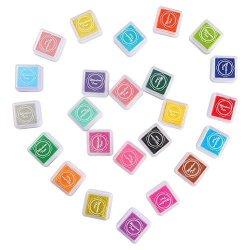 URlighting Craft Ink Pad 24 Colors Fingerprint Diy Rainbow Washable Stamp Pads Set For Kids Rubber Paper Wood Fab