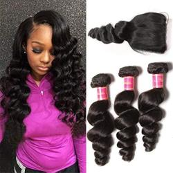 Nadula Brazilian 8A Unprocessed Loose Wave Remy Virgin Human Hair Weave Pack Of 3 Hair Extensions Natural Color 14 With 16 18 20