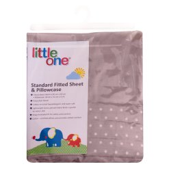LITTLE ONE - Standard Fitted Sheet And Pillowcase Taupe