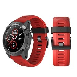 Insaneness Soft Silicone Replacement Sport Wirst Watchband Strap For Garmin Fenix 5X Plus Red