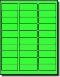 """Label Outfitters 3 000 2-5 8"""" X 1"""" Address Size Neon Fluorescent Green Laser Labels - 100 Sheets"""