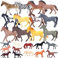 Plastic Horse Figures Toys Realistic Jumbo Horse Figurines Educational Playset For Kids Toddlers Boys Girls Cupcake Toppers Christmas Birthday Gift Set 24 Piece