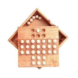 Humilk Kilotoy Wooden Solitaire Board Game With Marble Balls Traditional Challenging Checkers Board Game For Kids And Adults R66500 Dolls