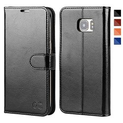 OCASE Galaxy S7 Edge Case Leather Wallet Flip Case For Samsung Galaxy S7 Edge - Black