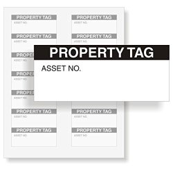 "MyAssetTag Property Tag Write-on Vinyl Label 140 Labels pack 1.5"" X 0.625"