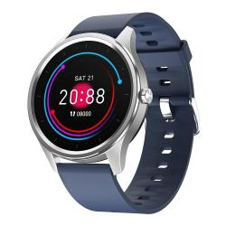 DT55 1.3 Inch Round Touch Always-on Screen Smart Watch Support Heart Rate Monitoring Sleep Monitoring Pedometer Calories Silicone Strap Blue