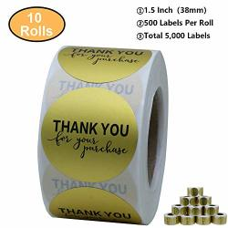 "Aleplay Gold Foil Thank You For Your Purchase Stickers 1.5"" Round 500 Labels Per Roll 10 Rolls"
