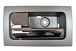 PT Auto Warehouse FO-2507MR-FL - Inner Interior Inside Door Handle Silver Gray Housing With Chrome Lever - Driver Side Front